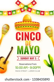 Cinco De Mayo poster template. text and details customized for fiesta party with celebration elements.