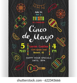Cinco De Mayo poster template. Text customized for invitation for fiesta party. Many Mexican attributes, colorful line icons. With ethnic pattern ornate dark background. Vector illustration.