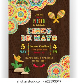 Cinco De Mayo poster template. Text customized for invitation for fiesta party. Ornate text and Mexican attributes. Colorful elements at dark ornament for background. Vector illustration.