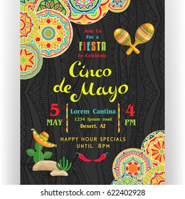 Cinco De Mayo poster template. Text customized for invitation for fiesta party. Ornate details and Mexican attributes. Freehand lettering. Dark ornament for background. Vector illustration.