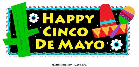 Cinco De Mayo Sign - Colorful Happy Cinco De Mayo sign. Eps10