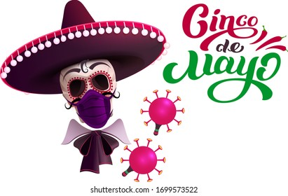 Cinco de mayo skull in sombrero and mask protection against coronavirus. Text greeting card. Isolated on white vector cartoon illustration