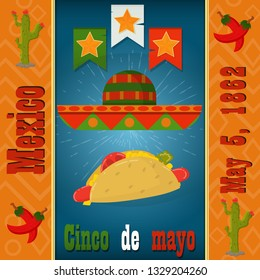 Cinco de mayo, sombrero and eating a hot dog, vector layout to design greeting cards, background, stickers, for registration of the Mexican holiday in style flat