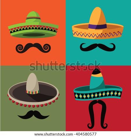 Cinco De Mayo sombrero and mustache set. EPS 10 vector royalty free stock  illustration perfect 0490254e20c