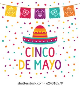 Cinco de Mayo vector card with paper flags and a sombrero