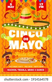 Cinco de Mayo vector flyer with national mexican symbols sombrero hat and tequila in glass shot with lime, red chili japapeno peppers mariachis playing guitar. Cartoon Cinco de Mayo fiesta invitation