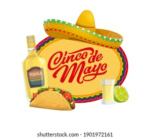 Cinco de Mayo vector icon with traditional mexican symbols sombrero hat, tequila with lime and glass shot and tacos. Typography and zigzag ornament. Cartoon Cinco de Mayo isolated oval label or badge