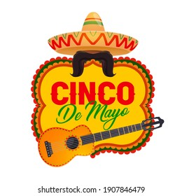 Cinco de Mayo vector icon with mexican symbols sombrero, mustaches and guitar. Cartoon Cinco de Mayo badge in traditional colors. National hat and musical instrument for fiesta party holiday of Mexico