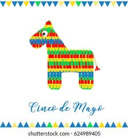 Cinco de Mayo. Vector illustration for greeting card. Multicolored horse among confetti.