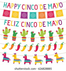 Cinco de Mayo vector party decoration set