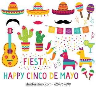 Cinco de Mayo vector set (sombreros, pinatas, a guitar, cactus flowers and decoration)