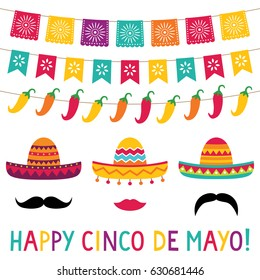 Cinco de Mayo vector sombrero photo booth props and decoration