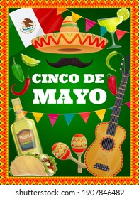 Cinco de Mayo vector traditional mexican symbols sombrero hat, mustaches, guitar and tequila with lime and tacos. Maracas, flag, red and green hot chili jalapeno pepper Cinco de Mayo cartoon poster