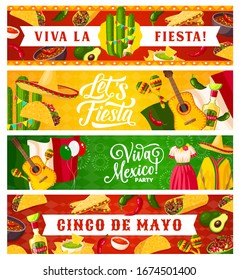 Cinco de Mayo and Viva Mexico vector Mexican holiday greeting banners. Sombrero hats, chilli peppers, maracas and cactuses, fiesta mariachi guitars, Mexico flag, nachos, tequila and tacos