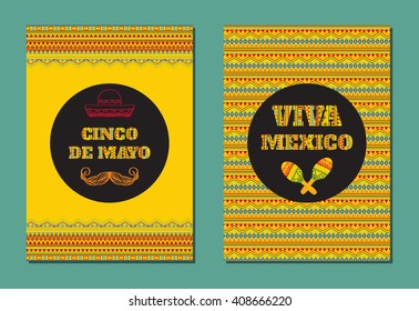 Cinco de mayo! Viva Mexico! Vector set of greeting cards, banners or posters with mexican geometric ornamental text