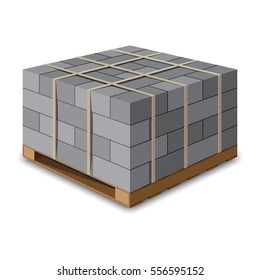 Cinder block. Concrete block on wooden pallet. Vector illustration on white background.
