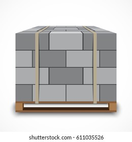 Cinder Concrete block on wooden pallet. Vector illustration on white background.