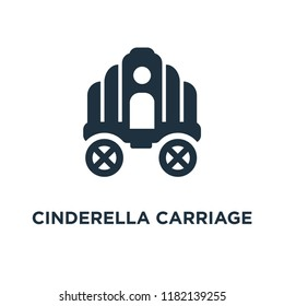 Cinderella carriage icon. Black filled vector illustration. Cinderella carriage symbol on white background. Can be used in web and mobile.