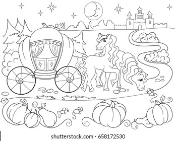 Cinderella fairy tale coloring book for children cartoon vector illustration. Black and white