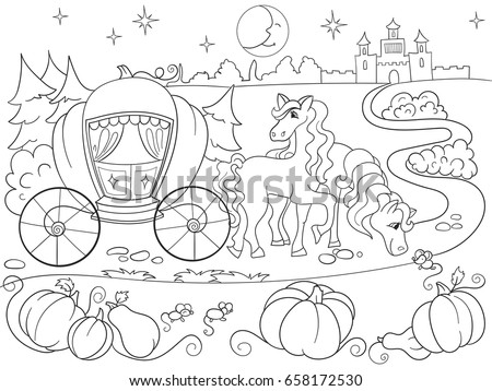 Cinderella Fairy Tale Coloring Book Children Stock Vector Royalty