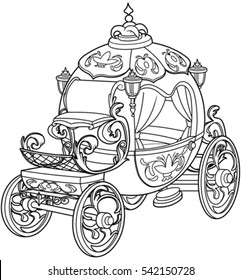 Cinderella fairy tale pumpkin carriage coloring page