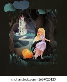 Aschenputtel mit Kürbis und Mäuse vor dem Nachtwald und Schloss. Märchenhafte Illustration.