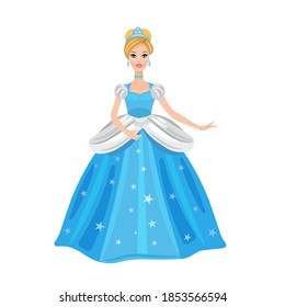 Cinderella illustration. Beautiful girl in a ball gown. Vector illustration