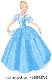 Cinderella is looking at her new ball dress