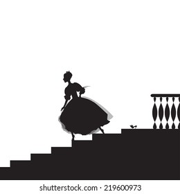Cinderella looses her shoe, run from dance, girl rashes down stairs, shadows, fairytale