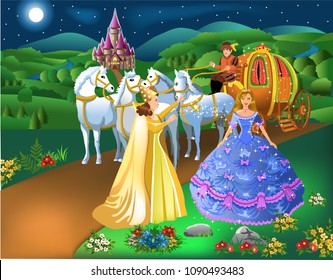Cinderella scene with godmother fairy transforming pumpkin into carriage with horses and the girl into a princess