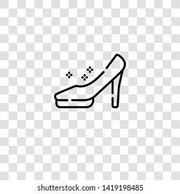 cinderella shoe icon from  collection for mobile concept and web apps icon. Transparent outline, thin line cinderella shoe icon for website design and mobile, app development