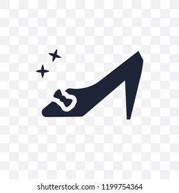 Cinderella shoe transparent icon. Cinderella shoe symbol design from Fairy tale collection. Simple element vector illustration on transparent background.