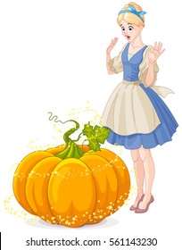 Cinderella Surprised by Pumpkin turning into a carriage