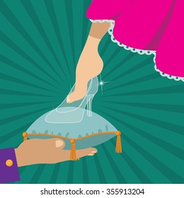 Cinderella tries on the glass slipper EPS 10 vector royalty free stock illustration