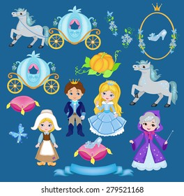 Cinderella vector illustration set
