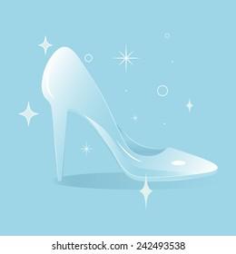 Cinderella's glass shoe, fairytale shimmering glass slipper