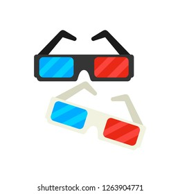 Cinema 3d glasses. Cartoon style icon Colorful flat vector illustration isolated on white background.