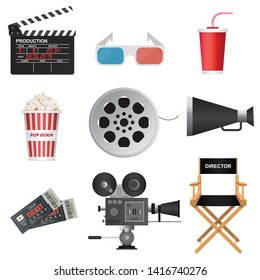Cinema 3D icons. Clapper board, megaphone, movie tickets, director chair, soda cup, popcorn, reel, retro projector vector illustration.