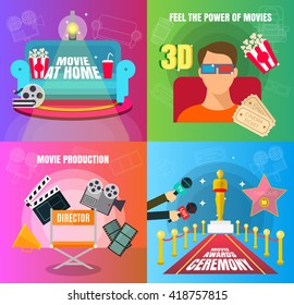 Cinema 4 flat design concepts set of movie adn cinema productuon watching and awards ceremony with director viewers, oscar figurine, 3D movie, and watch at home vector illustration