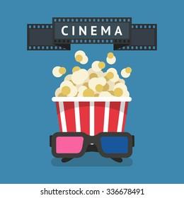 Cinema attributes: Film strip, bowl of pop corn and 3D glasses