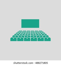 Cinema auditorium icon. Gray background with green. Vector illustration.