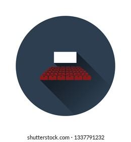 Cinema auditorium icon on gray background, round shadow. Vector illustration.