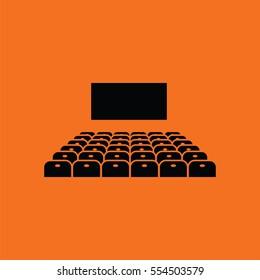 Cinema auditorium icon. Orange background with black. Vector illustration.