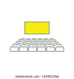 Cinema auditorium icon. Thin line design. Vector illustration.