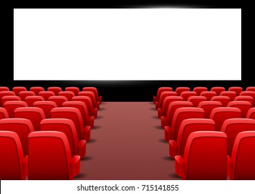 Cinema auditorium with red seats and blank screen. Vector illustration