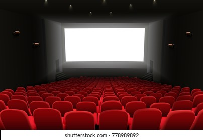 Cinema auditorium with red seats and white blank bright screen