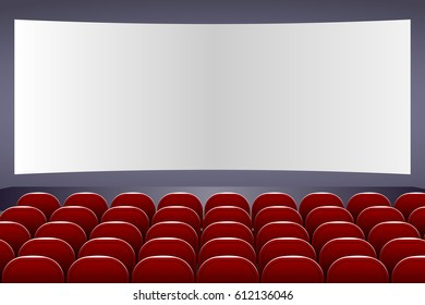 Cinema auditorium with screen and red seats