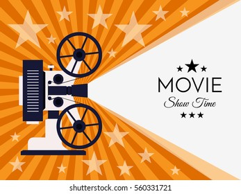 Cinema background or banner. Movie flyer or ticket template.