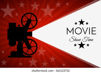 Cinema background or banner. Movie flyer or ticket template. Vector illustration