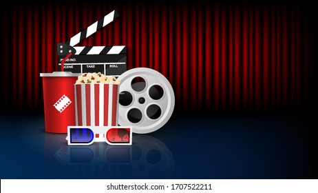 Cinema background concept, movie theater object on red curtain background, vector illustration